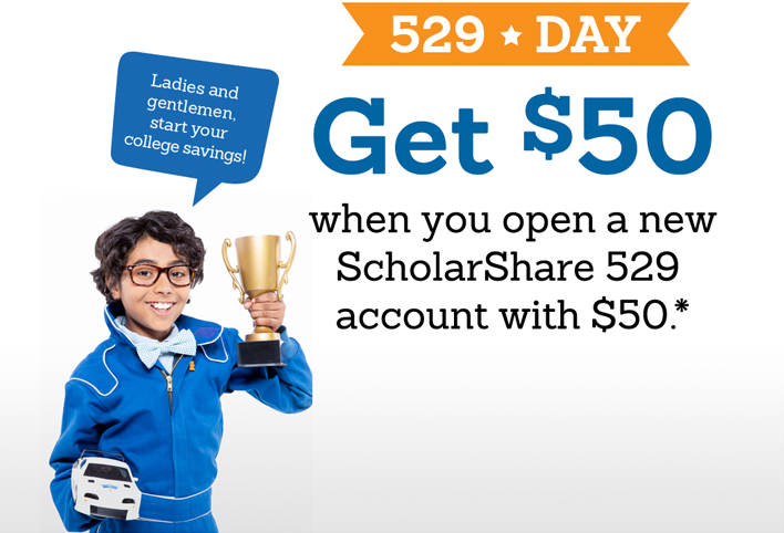 Get $50 when you open a new ScholarShare 529 account with $50